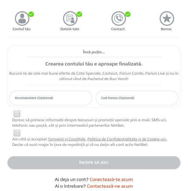 Inregistrare NetBet