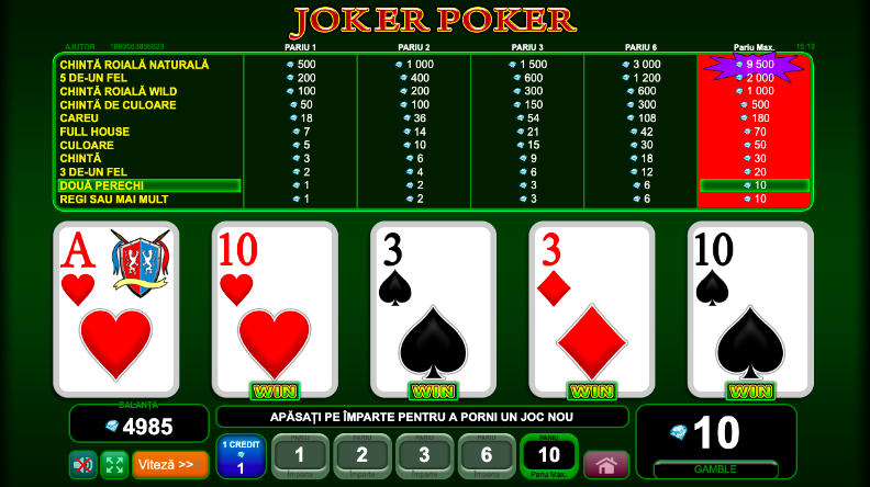 Jocul de Video Joker Poker