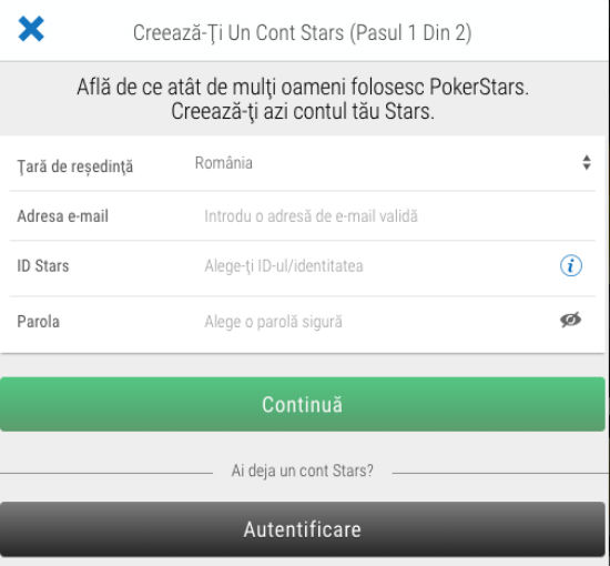 Inregistrarea PokerStars