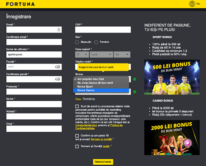 Înregistrare Fortuna online