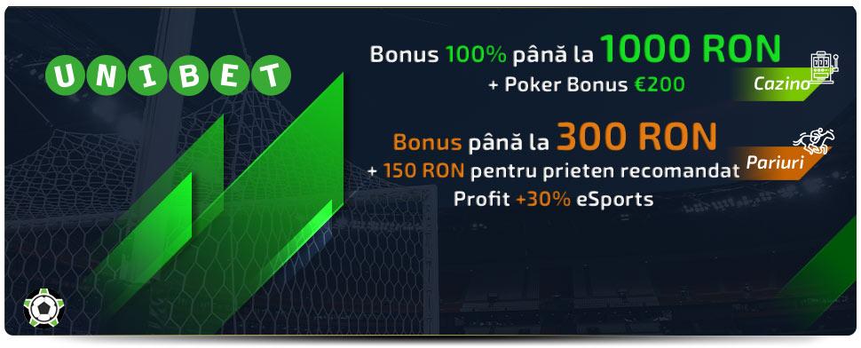 Unibet bonus de bun venit: Pariuri Sportive si Casino