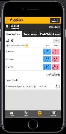 Aplicația Betfair Exchange App